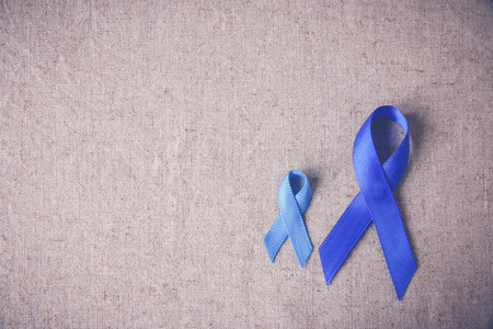 Blue ribbons toning background, Colon Cancer, Colorectal Cancer, Child Abuse awareness