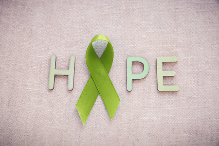 lyme: Lime Green Ribbon with HOPE word,Lyme disease, Mental health awareness