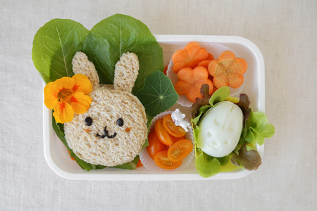 box: Easter Bunny healthy lunch box, fun food art for kids Stock Photo