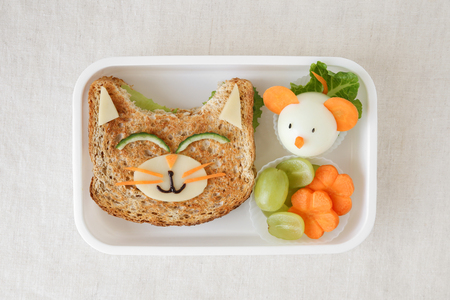 고양이와 마우스 건강 도시락, 아이들을위한 재미있는 음식 예술 스톡 콘텐츠