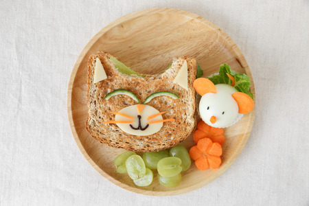Cat and mouse healthy lunch, fun food art for kids