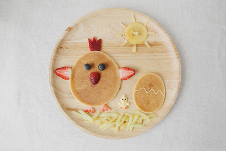 Easter egg, Rooster and chick pancake breakfast, fun food art for kids