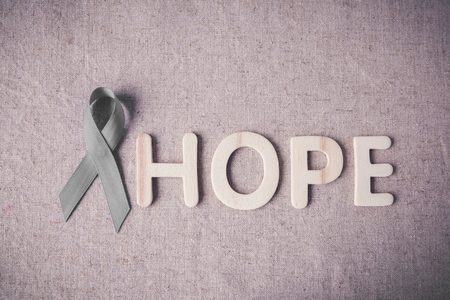 tumors: HOPE wooden letter with grey ribbon, Brain cancer awareness, Brain Tumors,Asthma awareness, Allergies and Diabetes awareness