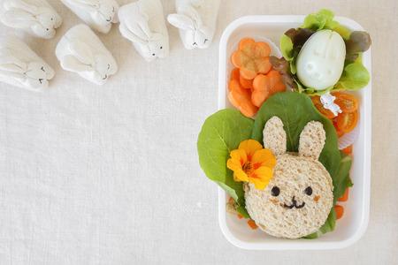 Easter Buny lunch box, fun food art for kids Banco de Imagens - 72759013