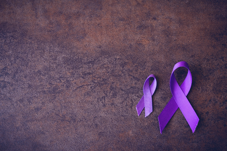Purple ribbons,toning copy space background, Alzheimers disease, Pancreatic cancer, Epilepsy awareness, Hodgkins Lymphoma awareness