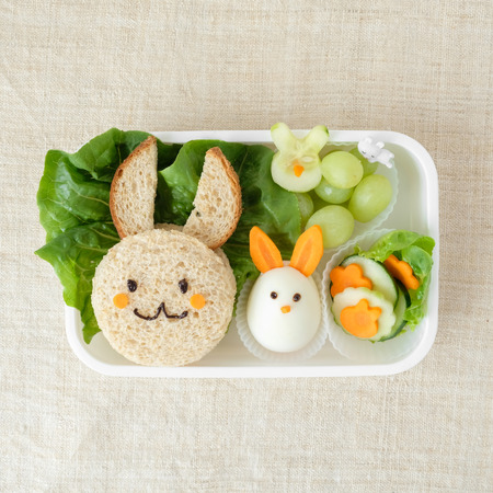 Bunny rabbit lunch box, fun food art for kids