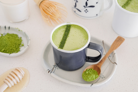 Matcha green tea latte, healthy trendy drinks