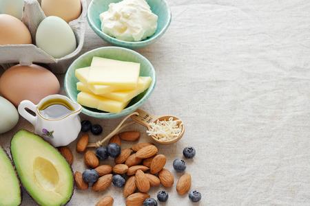 Keto, ketogenic식이 요법, 저탄 수화물, 고지방 건강한 체중 감량 식품