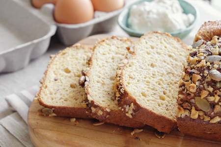 healthy almond bread, Keto, ketogenic diet, paleo, low carb fat Stock Photo