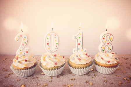 2018 Happy New Year Cupcakes, Fun holidays food background