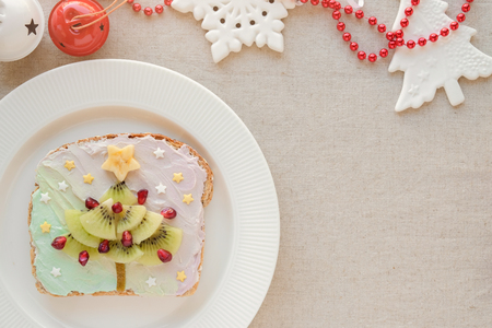 Christmas tree unicorn creamcheese toast breakfast, fun Christmas food art for kids