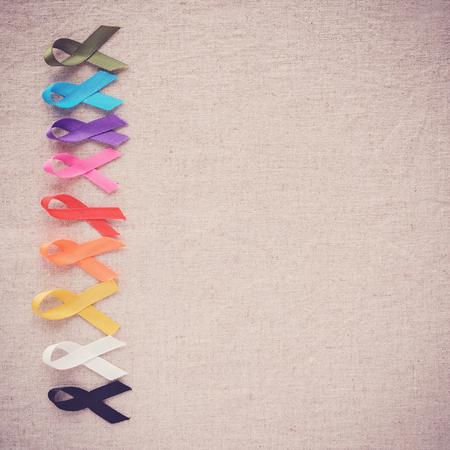 colorful ribbons, cancer awareness, World cancer day background Reklamní fotografie
