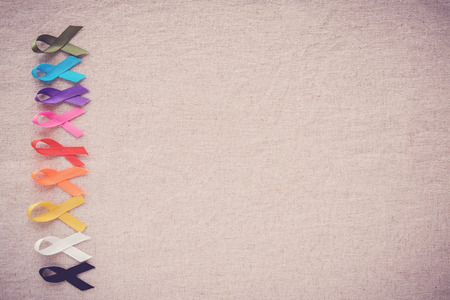 colorful ribbons of cancer awareness, World cancer day background Stock Photo
