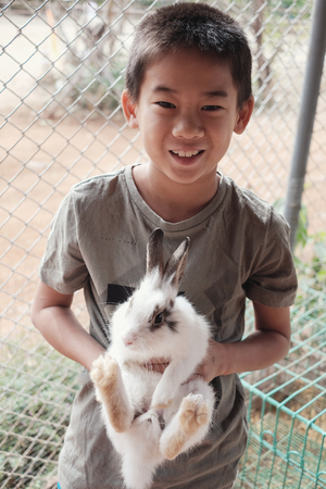 Happy Asian boy tween holding bunny rabbit