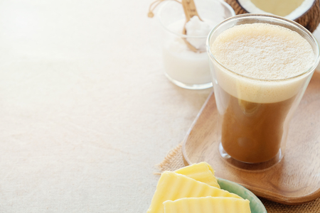bulletproof coffee, blended with organic grass fed butter and MCT coconut oil, paleo, keto, ketogenic drink breakfast