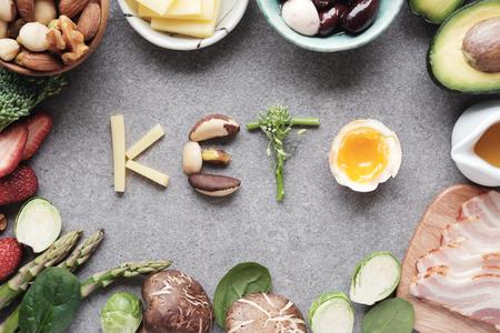 Keto, dieta ketogeniczna, niskowęglowodanowa, zdrowa żywność Zdjęcie Seryjne