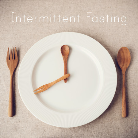white plate with spoon and fork, Intermittent fasting concept, ketogenic diet, weight loss, diet