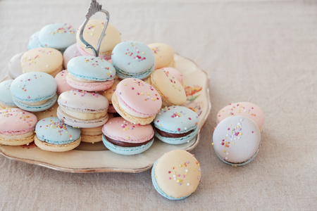 Homemade colorful pastel macaroons