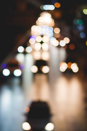 blur boke of car on the road. blur trafic at night.