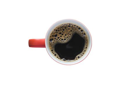 red cup black coffee isolated on white background with clipping path.