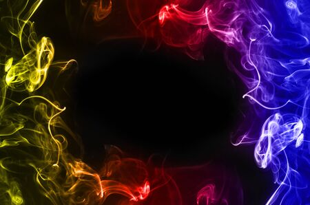abstract fragment movement of colorful smoke frame on black background.