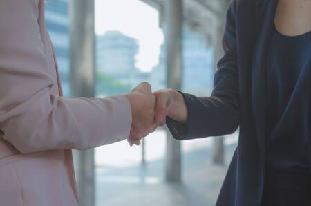 attractive business woman hand shaking for complete business deal together successful. teamwork concept. partnership concept and dealership concept. Banco de Imagens