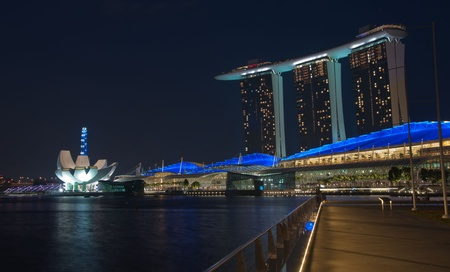 SINGAPORE-JAN 23:  Marina Bay Sands Resort Hotel at night on Jan 23, 2011 in Singapore. It is billed as the worlds most expensive standalone casino property at S$8 billion. Editorial