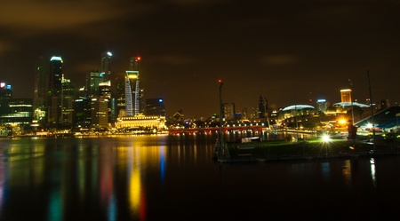 Singapore skyline and river at night time photo