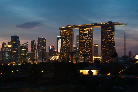 SINGAPORE-Feb 27:  Marina Bay Sands Resort Hotel at night on Feb 27, 2011 in Singapore. It is billed as the world Editorial