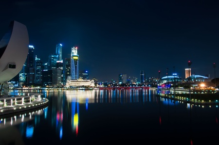 Singapore skyline and river at night time Stock Photo
