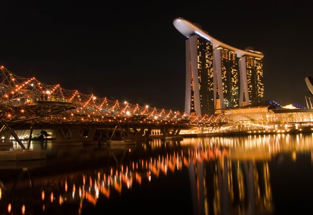 SINGAPORE-MAR 19:  Marina Bay Sands Resort Hotel at night on Mar 19, 2011 in Singapore. It is billed as the world