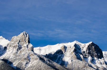 canmore: Close-up of the three sisters mountain, Canmore, Alberta, Canada