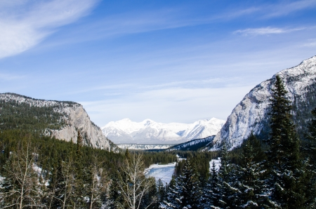 The part of Rockies mountain on blue sky background  photo