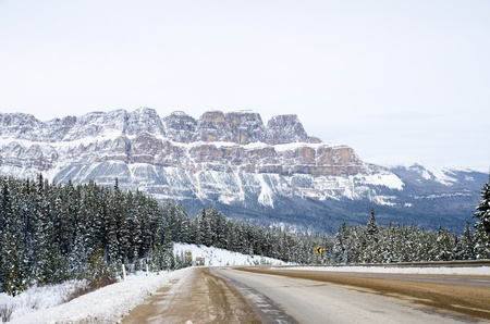 The road in the Banff national park with Rockies Mountain background Stock Photo - 16721011