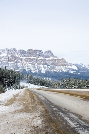 The road in the Banff national park with Rockies Mountain background Stock Photo - 16720945