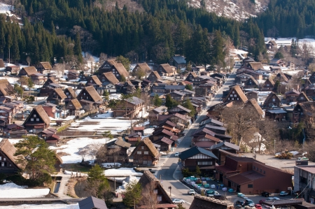 gifu: Japan - Aerial view of Shirakawa-Go,  Gifu prefecture