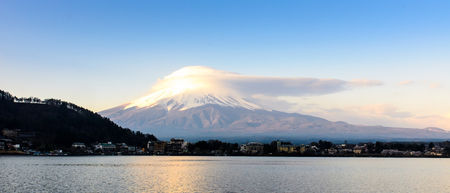 fujisan: Fuji-san with cloud on top in April 2015, Kawaguchiko lake ,Japan