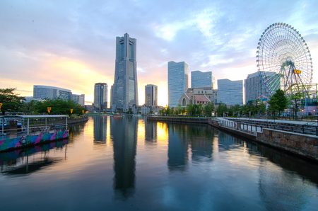 Background of Minato-Marai, Yokohama downtown, Japan