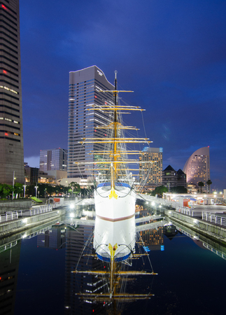 maru: Nippon Maru with downtown background