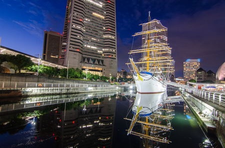 maru: Nippon Maru ship with the downtown background