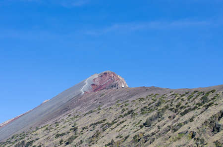 Summit of rinjani wih blue sky background