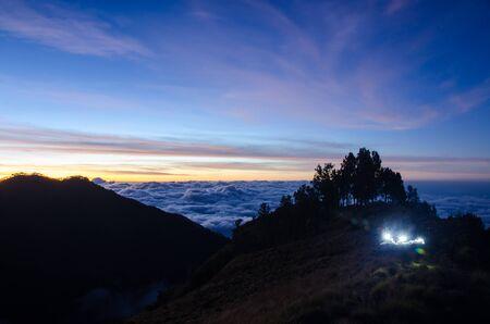 landscape at the crater rim, Rinjani mountain, Lombok, Indonesia Stock Photo