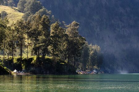 Lake at Rinjani mountain in the morning time Stock Photo