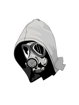 Graffiti artist with mask monotone version