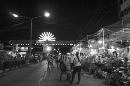 lunar month: fair on urban of  Thailand such as Loy Kra Thong festival occurred 10 days in  twelfth lunar month, new year festival , anniversary established,black and white background Stock Photo