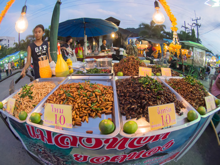 occurred: fish eye view, fried insect shop, fair on urban of  Thailand such as Loy Kra Thong fair occurred ten days in  twelfth lunar month, new year festival , anniversary established