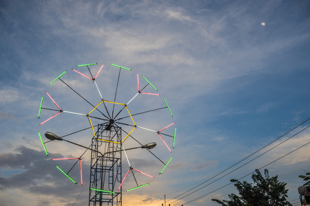 lunar month: twilight time,small moon and decorate light in urban fair of  Thailand such as Loy Kra Thong fair occurred ten days in  twelfth lunar month, new year festival , anniversary established