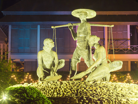 fifth: RANONG PROVINCE, THAILAND - Dec 13 : statue decor with beautiful light at fifth kings throne  reproduce and public garden on Dec 13, 2015 in Ranong Rrovince, Thailand. Light decor for 2 months ,november and december. Editorial