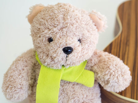 citrine: lovely bear doll and  citrine scarf, close up Stock Photo