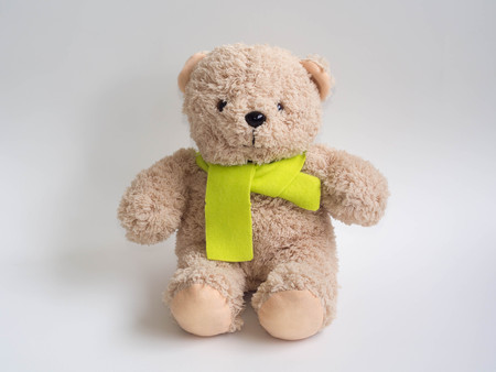 furry stuff: lovely bear doll and  citrine scarf, white background